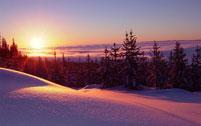 Winter sunset, snowy scene