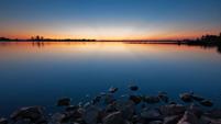 Lake sunset scene