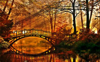 Autumn scene with bridge over river
